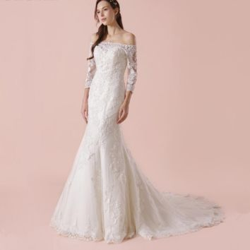 Off The Shoulder Three Quarter Sleeve Wedding Dress With Lace Sheath Bridal Gown