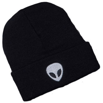 Alien Head Embroidered Beanie Fashion Casual Womens & Mens Warm Winter Knitted Cotton Black Cuffed Skully Hat