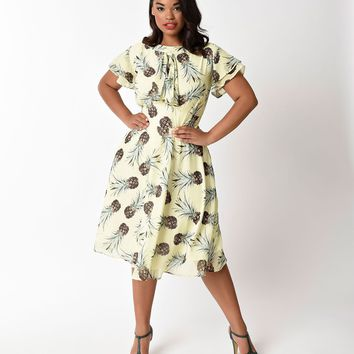 Unique Vintage Plus Size 1940s Yellow Pineapple Print Cap Sleeve Dixon Day Dress