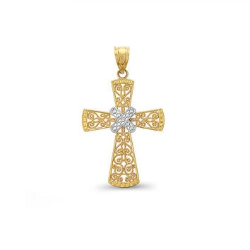 14k solid gold two tone cross pendant. religious pendant. religious jewelry.