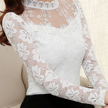 2017 Women Sexy Hollow Out Chiffon Lace Blouse Long Sleeve Stand Collar Floral Lace Shirt Tops Casual Women clothing Blusas