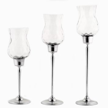Astonishing Candle Holder With Clear Hammered Glass (Set of 3)