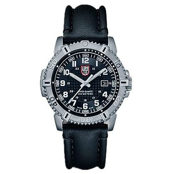 Luminox Mens Modern Mariner - Black Dial with Steel Case and Black Leather Strap