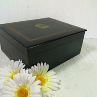 Gorgeous Green Leatherette Vintage Stationery Jewelry Box with Gold Tooled Ship Crest - Smith Crafted Chicago ArtDeco Desk Storage Large Box