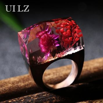 UILZ Vintage Handmade Jewelry Real Red & Purple Flower Resin Wooden Rings for Mother' Day Gift