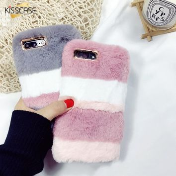 KISSCASE Hit Color Case For iPhone 7 8 Plus Luxury Girly Cute Christmas Plush Velvet Warm Case For iPhone X 7 8 6 Plus 5 SE Case