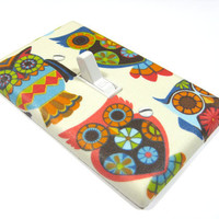 Mosaic Owl Light Switch Plate Cover Bedroom by ModernSwitch