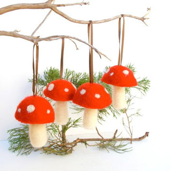 One Toadstool Ornament, Needle Felted Whimsical Woodland Christmas Tree, Red, Alice in Wonderland, Magic, Fairy, Fairytale