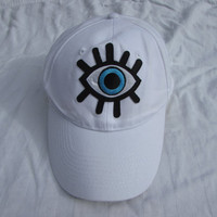 Trendy White Baseball Hat With Eye
