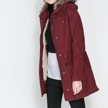 PARKA WITH NATURAL FUR LINING Coats Woman ZARA United