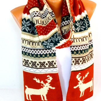Knitted Shawl, Knit Scarf, Nordic Scarf, Winterweight Scarves, Deer Scarf, Deer Patterned, Women's fashion Accessories, Gift for Christmas