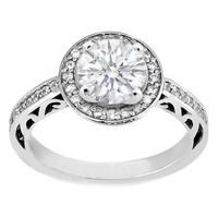 Engagement Ring - Round Diamond Filigree Halo Engagement Ring - ES792