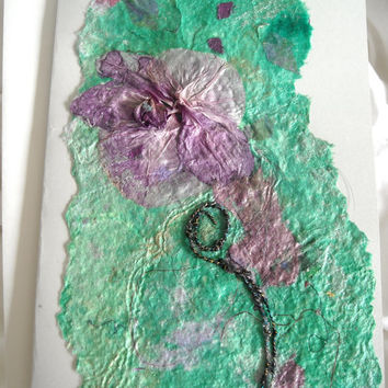 Mixed Media Art Card, Real Orchid Flower Card, Handmade Paper Floral Card, Turquoise Fiber Art Eco Chic Flower Card, Blank Romantic Card
