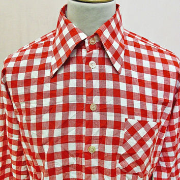 Vintage 1970s Red white gingham Shirt Large