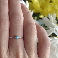 Tiny Turquoise Stone Stacking Ring in Sterling Silver