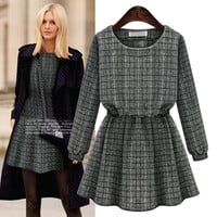 Checkered Cuff Long-Sleeve A-Line Knit Dress
