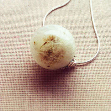 DANDELION Resin Necklace Dried Flower Pendant Botanical Ball Orb Globe Jewelry Botanical Jewelry Gift for Her Bridesmaid Jewelry Make a Wish