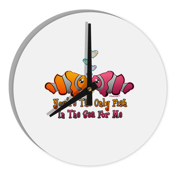 "Kissy Clownfish Only Fish In The Sea 8"" Round Wall Clock"