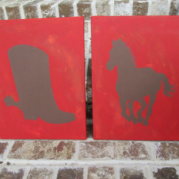 Rustic Western Horse and Cowboy Boot Paintings -  Handpainted Set Wall Decor Art - You customize!