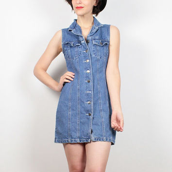 Vintage Denim Dress 1990s Dress Sleeveless Denim Mini Dress Blue Jean Jumper 90s Dress Soft Grunge Dress Tennis Dress Shirt Dress XS S Small