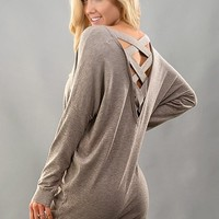 Mocha Sweater Top with Criss Cross Back