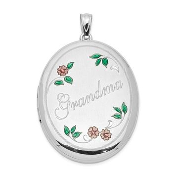 Sterling Silver Grandma W/ Enamel Flowers 34mm Oval Locket