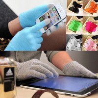 Magic Touch Screen Knit Gloves Smartphone Texting Stretch One Size Adult Winter