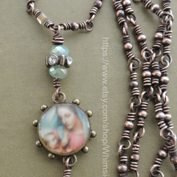 Frosted Madonna Necklace with Handmade Copper Chain