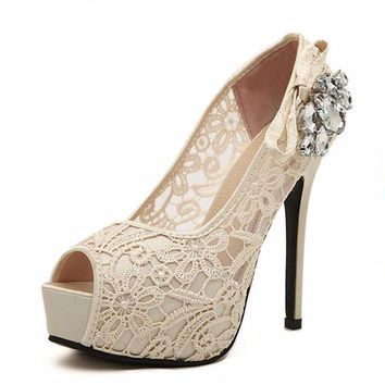 Women's Sexy Lace Rhinestone Mesh Open Toe High Heel Platform Shoes