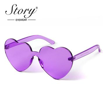 STORY 2018 Rimless Frame Cat Eye Sunglasses Women Love Heart Shape Sun Glasses Tint Clear Lens Colorful Red Purple Shades