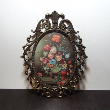 Vintage Ornate Brass Convex Bubble Glass Framed Floral Bouquet Print