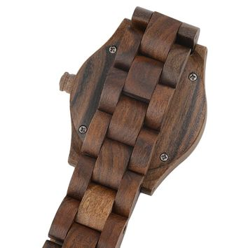 New Wooden Style with Crystal Scale Quartz Wrist Watch for Women