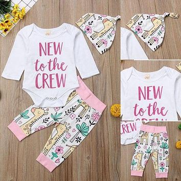 3Pcs Toddler Newborn Baby Girl Romper Tops Floral Long Pants Outfits Clothes USA