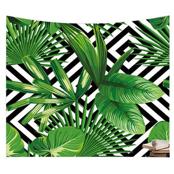 Rainforest wall tapestry  tenture murale tapiz boho blanket nature tapestry polyester green leaf printed tapestry beach