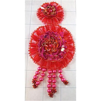 "Designer Motif Red and Fuchsia Epaulet with Gold Rings 6"" x 3"""