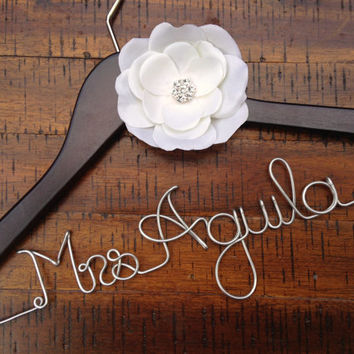 Wedding Hanger Ivory Rhinestone Flower, Bridal Hanger, Personalized Bride Hanger, Bride Gift, Name Hanger, Flower, Mrs Hanger
