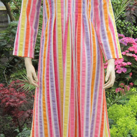 Vintage 70s dress Dutchess by Lord and Taylor sorbet striped maxi dress lounger Bust 34