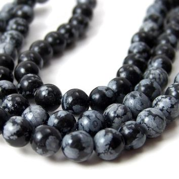 SNOWFLAKE OBSIDIAN, 6mm round gemstone beads, full strand (110S)