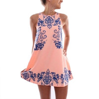Women Girl Summer Dress Sleeveless Vestidos Blue And White Porcelain Print Chic Mini Sundress