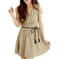 Women Double V Neck Elastic Waist Chiffon Mini Dress Khaki XS