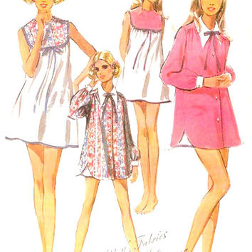 60s Babydoll nightgown Mod Vintage robe nightgown and bikini panties sewing pattern McCalls 2122 Size medium UNCUT Bust 32 to 34