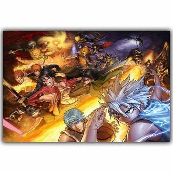 Bleach Anime Poster Collection Silk, Yugioh, Dragon Ball, One Piece, Death Note Manga Anime Classic Wallpaper Home Decoration