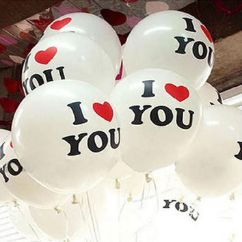 30pc i love you Balloon 12 Inch Romantic White Helium Latex Balloons Party Wedding Birthday Christmas Event Decoration Balloon(I love u) (Color: White) = 1932450436