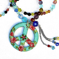 Long Beaded Necklace with Rose Peace Pendant Bohemian Jewelry FREE SHIPPING