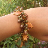 Acorn jewelry - Fall leaves - Handmade fall bracelet