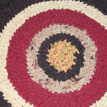Rag Rug; Handmade Crochet in Brown, Yellow, Red and Cream