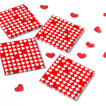 Valentine's Day Ceramic Coasters, Small White Hearts on Red, Valentine Gift set of 4