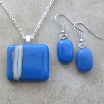 Contemporary Fused Glass Necklace and Earring Set, Blue Pendant with White Stripes - On My Side - 3580-520