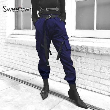 Sweetown Plus Size Cargo Pants Women High Waist Pantalon Harajuku Femme Blue Loose Street Style Pocket Trousers Women Streetwear