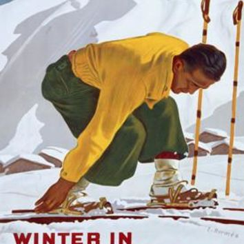 Winter in Switzerland Ski Ad by Erich Hermes Fine Art Print